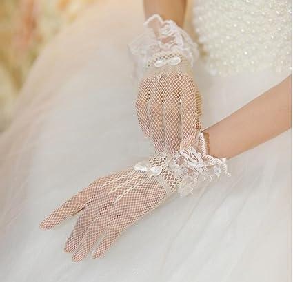 GYMNLJY Guante Novia boda vestido vestidos de encaje y Tul dedo guantes (paquete de 2