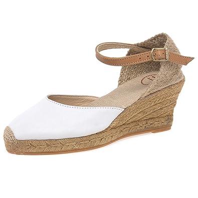 90d78277dad1 Toni Pons Costa 5 Womens Wedge Heel Espadrilles 2   35 White Tan Strap   Amazon.co.uk  Shoes   Bags