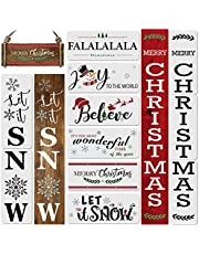 11PCS Christmas Stencils for Painting on Wood-Reusable Vertical Merry Christmas&Let it Snow Porch Sign Stencils .Including Falalala/Believe/Let it Snow/Joy to The World Stencil for DIY Crafts