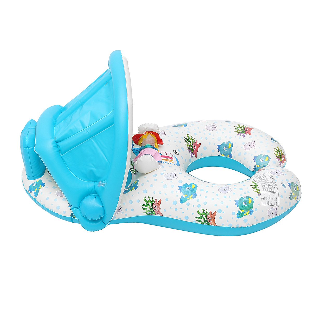 Water Sports WD Inflatable Mother Baby Swimming Ring Swim Pool Water Seat Float with Canopy Sunshade by Wincom Dishman (Image #4)