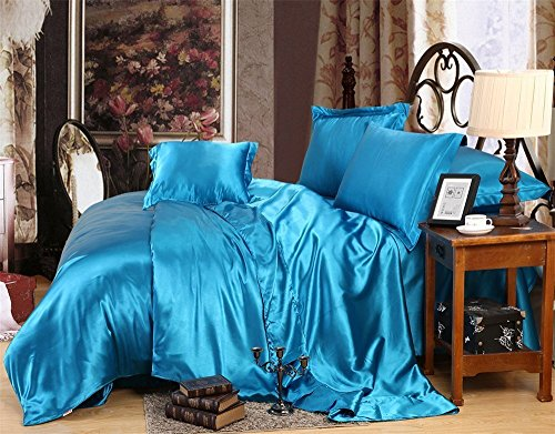 MOONLIGHT BEDDING Ultra Soft Luxurious Satin 1-Peice Comforter with Microfiber Filling Duvet Insert (King/Cal-King, Turquoise Blue)