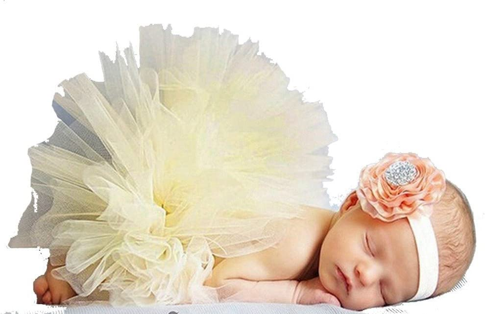 DAYAN Photo Photographie Prop costume de b/éb/é fille sait TuTu robe fleur rose bandeau Couleur Blanc