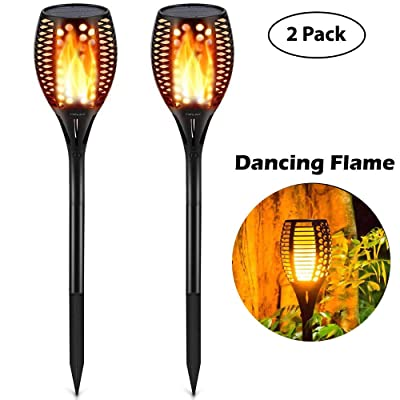 Sumaote Solar Path Torch Lights, 96 LED Dancing Flickering Flame Solar Torch Lighting, Waterproof Landscape Solar Christmas Lights Outdoor Dusk to Dawn Auto On/Off for Garden Patio Lawn, 2 Pack