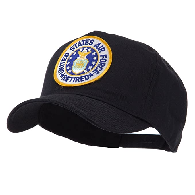 828131a0309 E4hats Retired Embroidered Military Patch Cap - USAF Retired OSFM Black