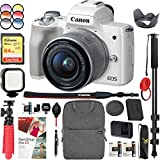 Canon EOS M50 Mirrorless Camera with 4K Video and EF-M 15-45mm Lens Kit (White) Bundle with Backpack Monopod SanDisk 64GB SDXC Memory Card and Battery Kit