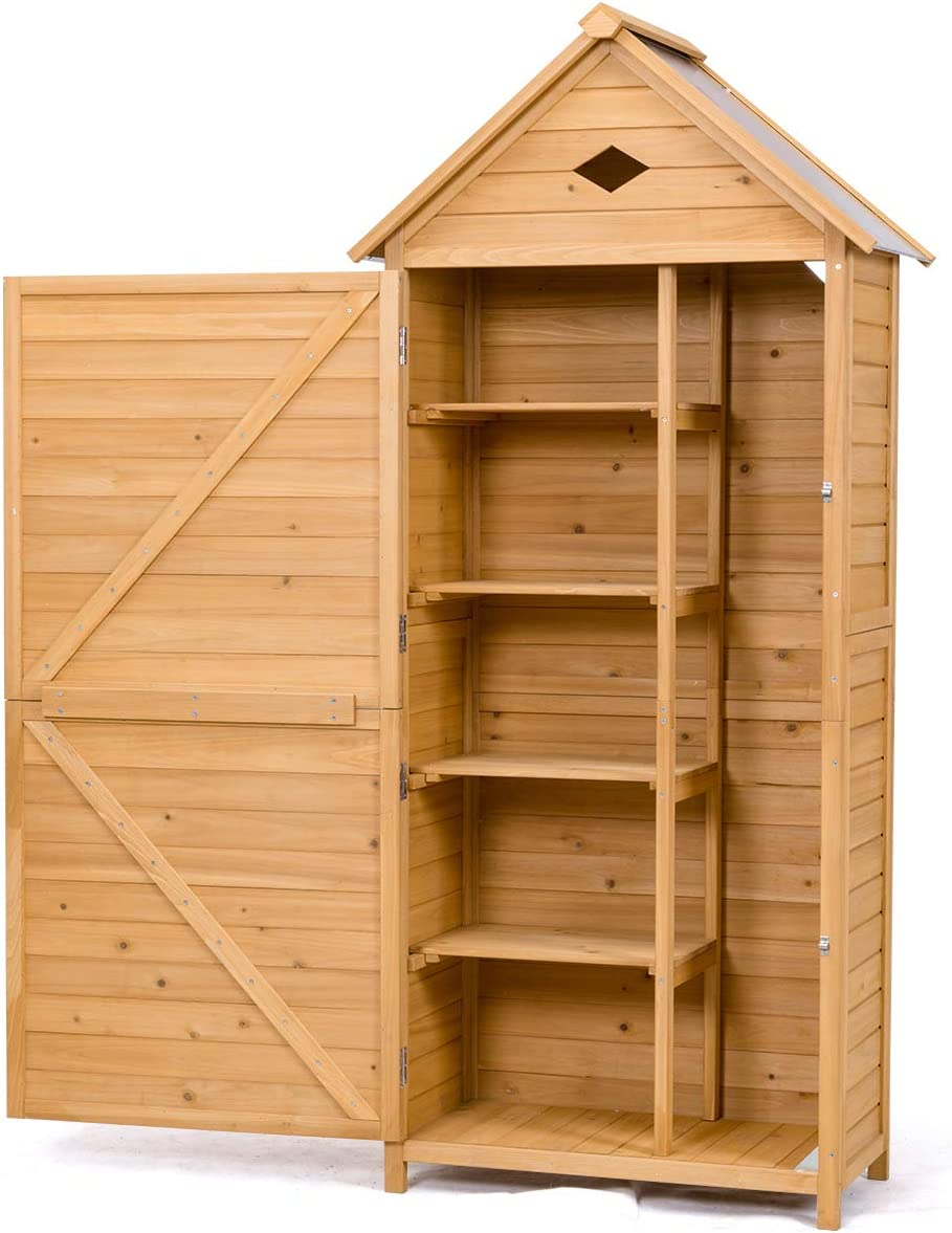 Safstar Outdoor Storage Shed for Garden Tools, Wooden Patio Shed with Gable Roof and Metal Latches
