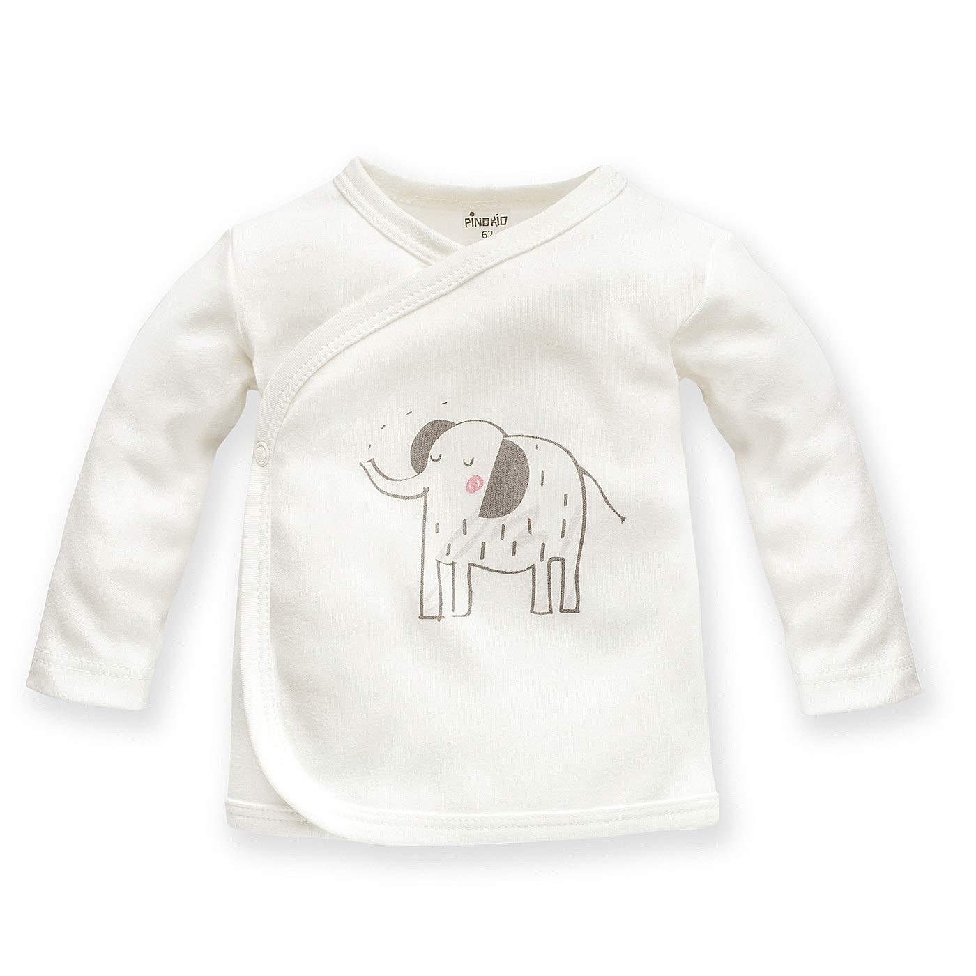 Wei/ß 56 Baby Wickelshirt langarm Elefant Zoo Motiv M/ädchen Kinder Wickelhemd Wickeljacke Oberteil unifarben Fl/ügelhemdchen Tier Unterw/äsche Langarmshirt Fl/ügelhemd