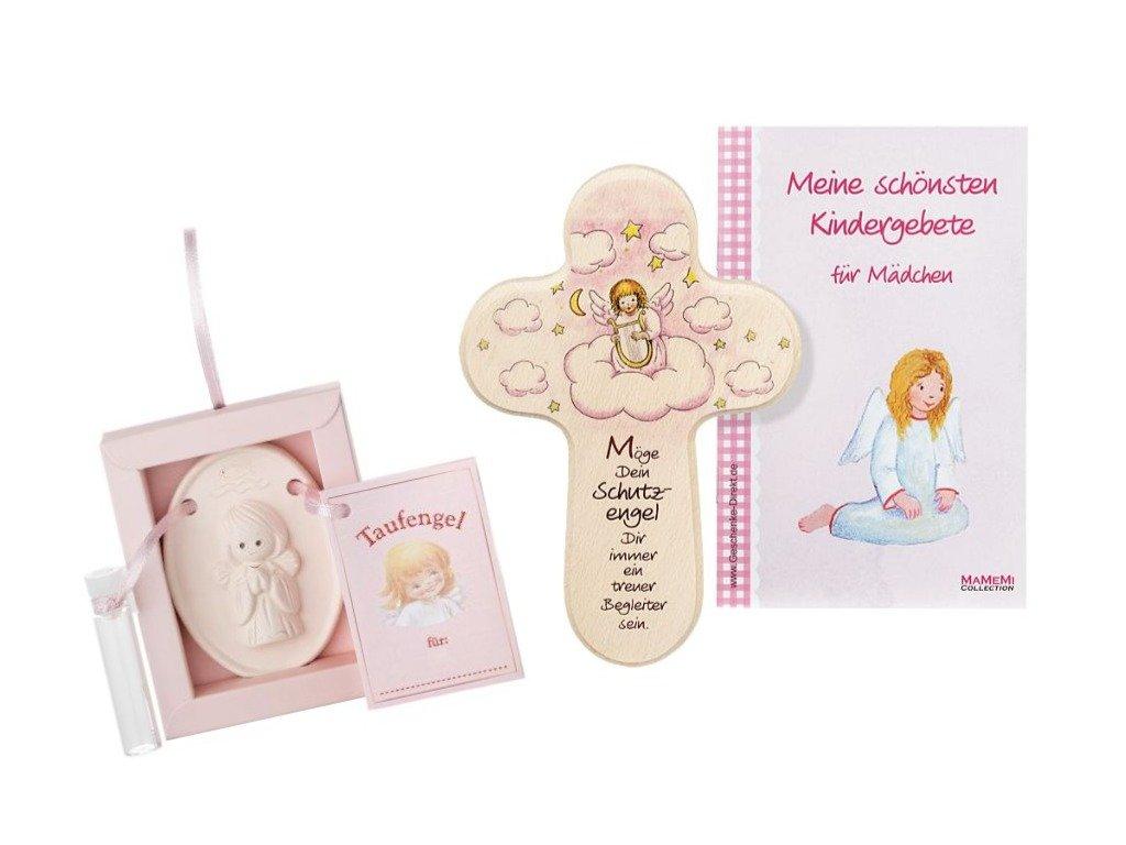 Taufgeschenk-Set: Weihwasser-Engelchen mit Gebetsbüchlein und passenden Mädchen-Kreuz zur Taufe MaMeMi