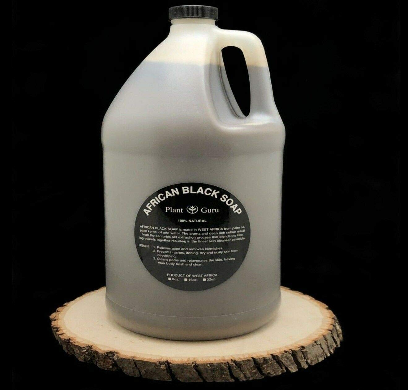 African Black Soap Liquid Gallon 100% Raw Pure Natural From Ghana, Acne Treatment, Aids Against Eczema & Psoriasis, Dry Skin, Scar and Dark spot Removal, Pimples and Blackhead, Face & Body Wash by Plant Guru (Image #3)