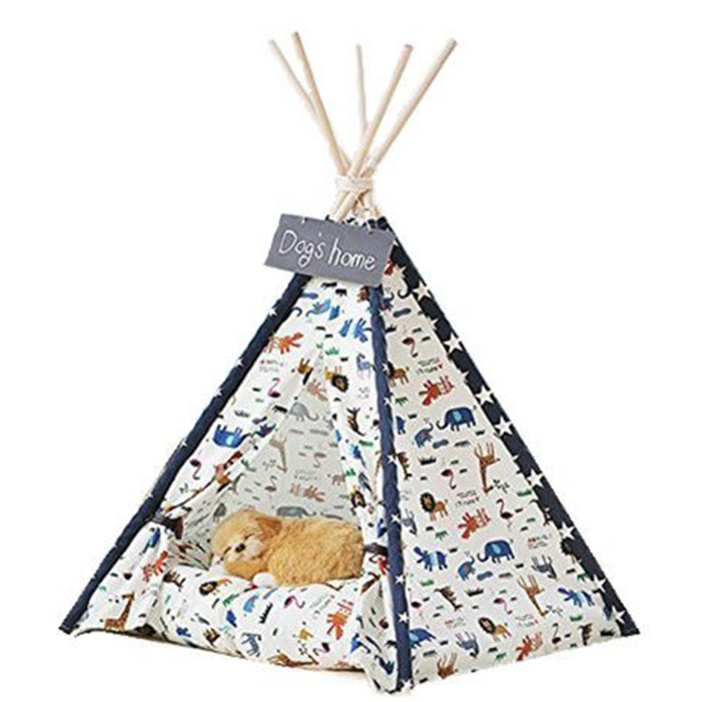 Dog Tent, DEWEL Pet Teepee Animal Prints Pattern Dog & Cat Toy House Portable Washable Pet Bed for Dog Cat (Without Cushion)