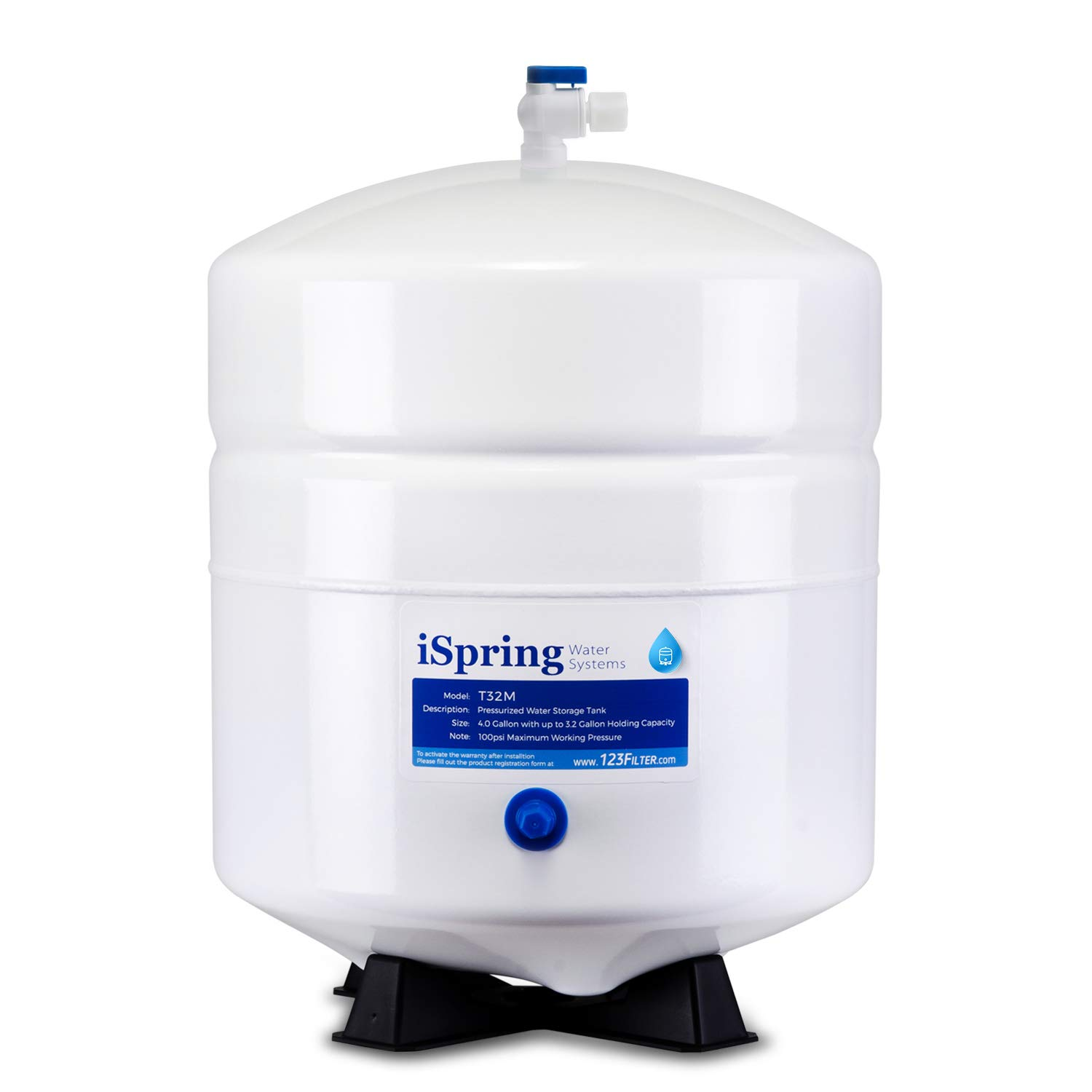 iSpring T32M Pressurized Water Storage Tank with Ball Valve for Reverse Osmosis RO Systems 4 Gallon
