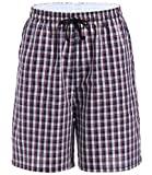 Latuza Men's Cotton Plaid Lounge Sleep Shorts, 03, Small
