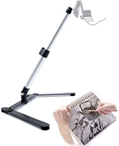 Table Top Webcam Tripod with Cellphone Holder, Overhead Phone Mount, Ajustable Teaching Online Stand for Live Streaming and Online Video and Food Crafting Demo Drawing Sketching Recording