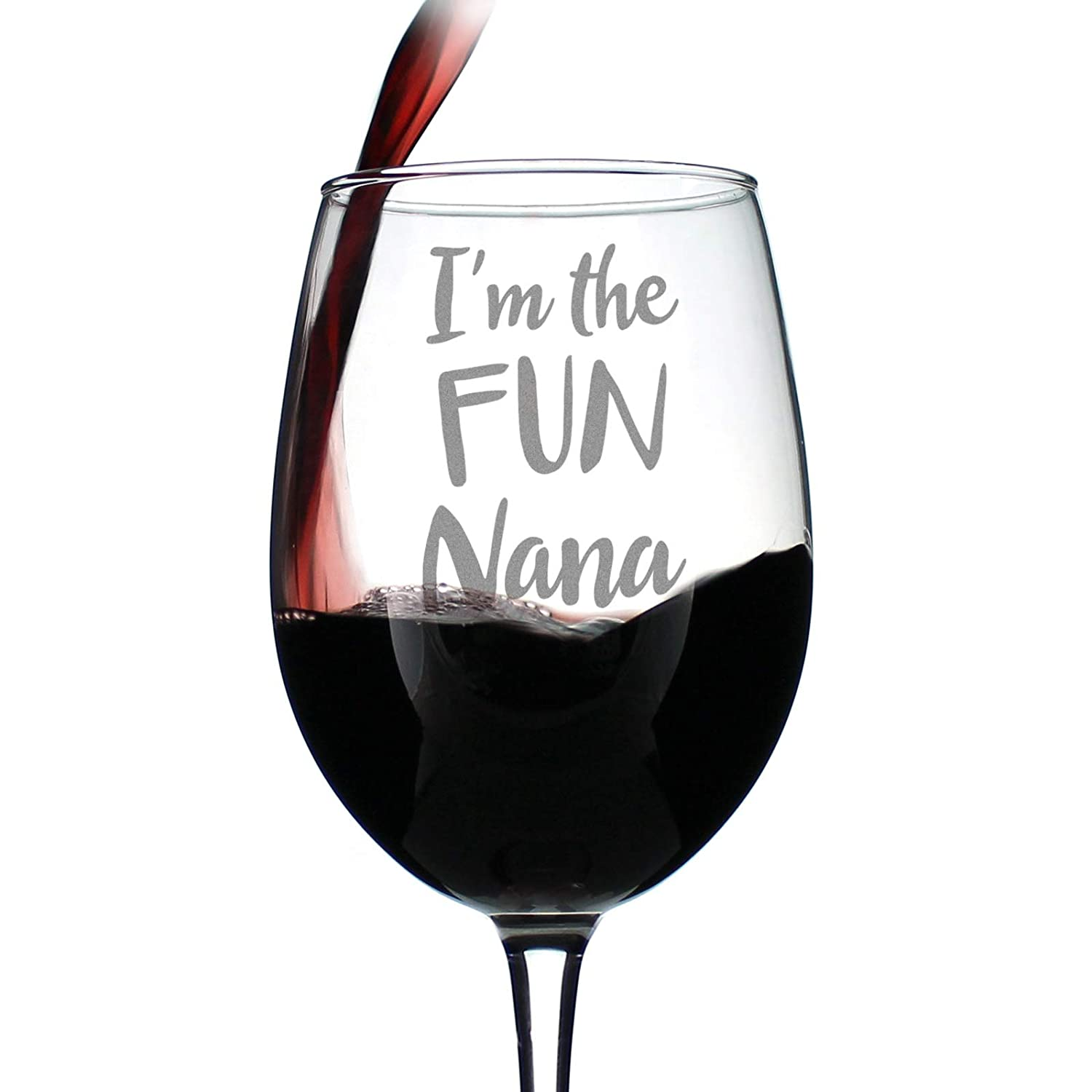 Gift Box Cute Funny Wine Glass Large 16.5 Ounce Size Etched Sayings Fun Grandma