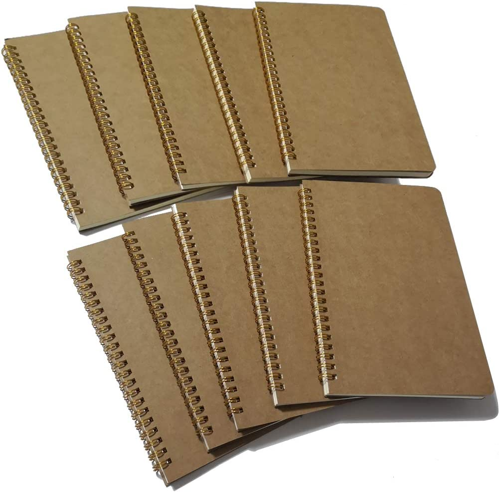 "Softcover Spiral Notebook Lined/Spiral Journal, 50 Sheets (100 Pages) Wide Ruled Notebook, 10 Notebooks Per Pack, A5, 8.5"" x 5.7"", Brown"