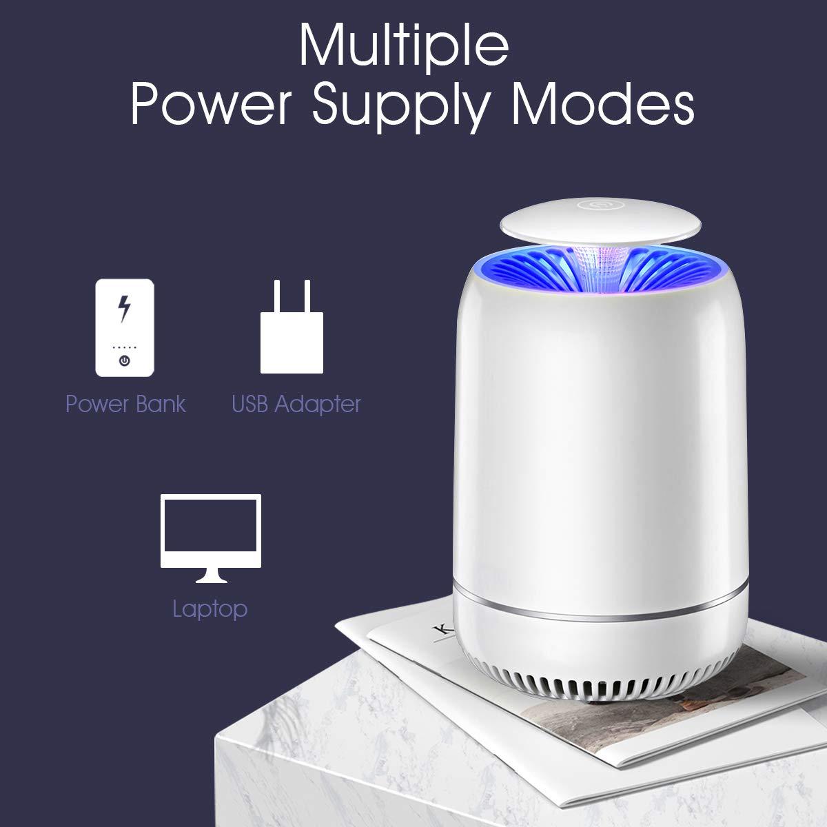 Lampe Anti-Moustique FOCHEA USB Pi/ège /à Insectes Volants /Électrique LED Destructeur de Moustiques pour Maison Patio Ext/érieur Cour Blanc