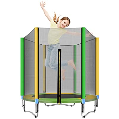 Sixpi Kids Trampoline with Safety Enclosure Net, Round Bounce Jumper for Indoor/Outdoor, Built-in Zipper Heavy Duty Frame, Spring Cover Pad, Trampoline for Kids Basketball Hoop Trampoline (5 FT) : Sports & Outdoors