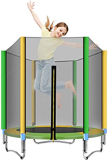 Trampoline with Safety Enclosure Net, 5-Foot Round Bounce Jumper for Indoor Outdoor, Built-in Zipper Heavy Duty Frame, Kids Basketball Hoop Trampoline for Great Gift 5 FT-