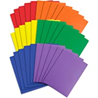 Blue Summit Supplies Two Pocket Plastic Folders, Assorted Colors, Durable Plastic Folders with Pockets, Letter Size with Business Card Slot, Bulk 30 Pack