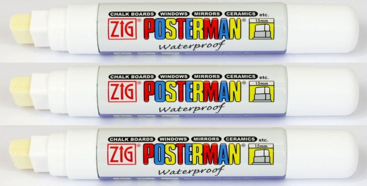Zig Kuretake Posterman - Pennarello per lavagna, punta larghissima da 15 mm, impermeabile, anche per vetro, legno, metallo, plastica, carta, lavagna magnetica, confezione da 3, inchiostro liquido bianco Kuretake UK Ltd.