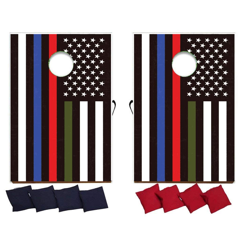 VictoryStore Cornhole: Thin Green Red Blue Line American Flag Cornhole Game - Support Our Troops, Police, FIRE/EMT - Wooden Boards 8 Bags Included