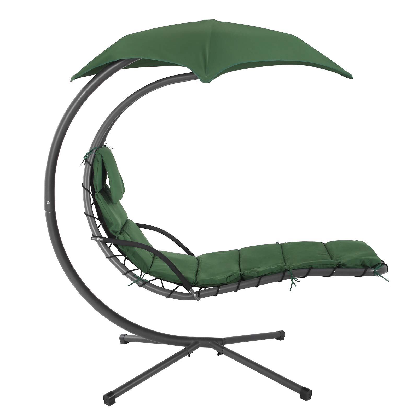 Songmics Hanging Lounger With Stand Sunshade Hanging Lounge Chair With 5 Cm Thick Cushion Swing Hammock Chair 150 Kg Load Capacity For Terrace Balcony Garden Dark Green Ghc10gn Buy Online In Aruba