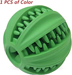 EETOYS IQ Treat Ball.Fun Interactive Food Dispensing Dog Toy. Non-Toxic Natural Rubber Tooth Cleaning Toy.Interactive Dog Toys for Medium and Large Dogs (Green)