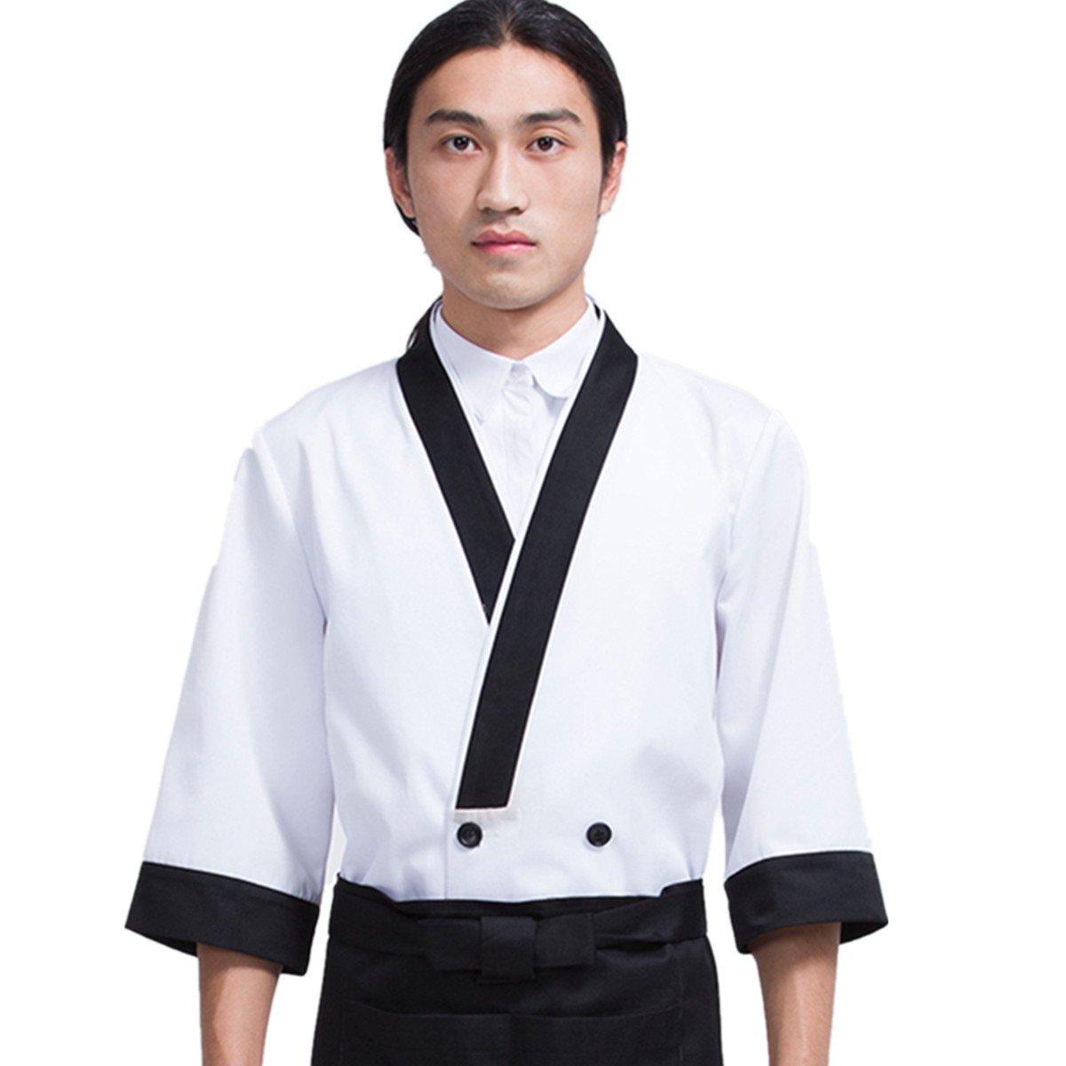 XINFU Sushi Chef Uniform White Simple 3/4 Long Sleeve Restaurant Japanese Kimono Kitchen Work Coat