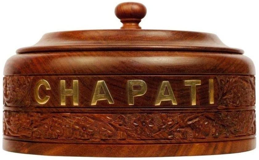 WILLART Handicraft Wooden Stainless Steel Bread Chapati Box Casserole with Engraved Design Finish Kitchen Home D/écor Ideal for Gift on Diwali and Christmas Dimension : 9 Inch X 9 Inch X 3.5 Inch