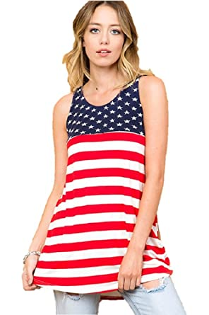 59017079f8 Image Unavailable. Image not available for. Color  ASA Stars   Stripes Tank  Top Regular Plus Sizes