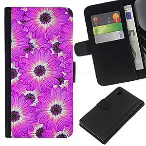 All Phone Most Case / Oferta Especial Cáscara Funda de cuero Monedero Cubierta de proteccion Caso / Wallet Case for Sony Xperia Z1 L39 // Flower White Pattern Pink