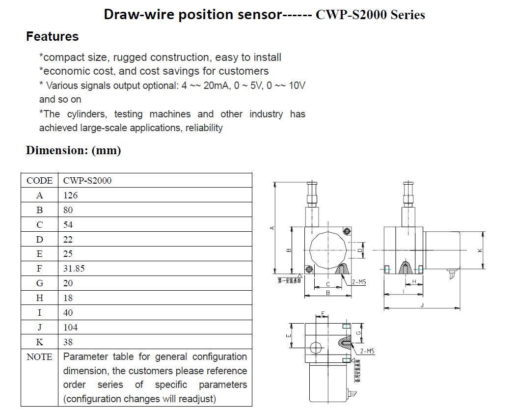 CALT 2000 mm Rango de medición 0-10 V salida analógica Draw Wire Sensor de desplazamiento: Amazon.es: Industria, empresas y ciencia