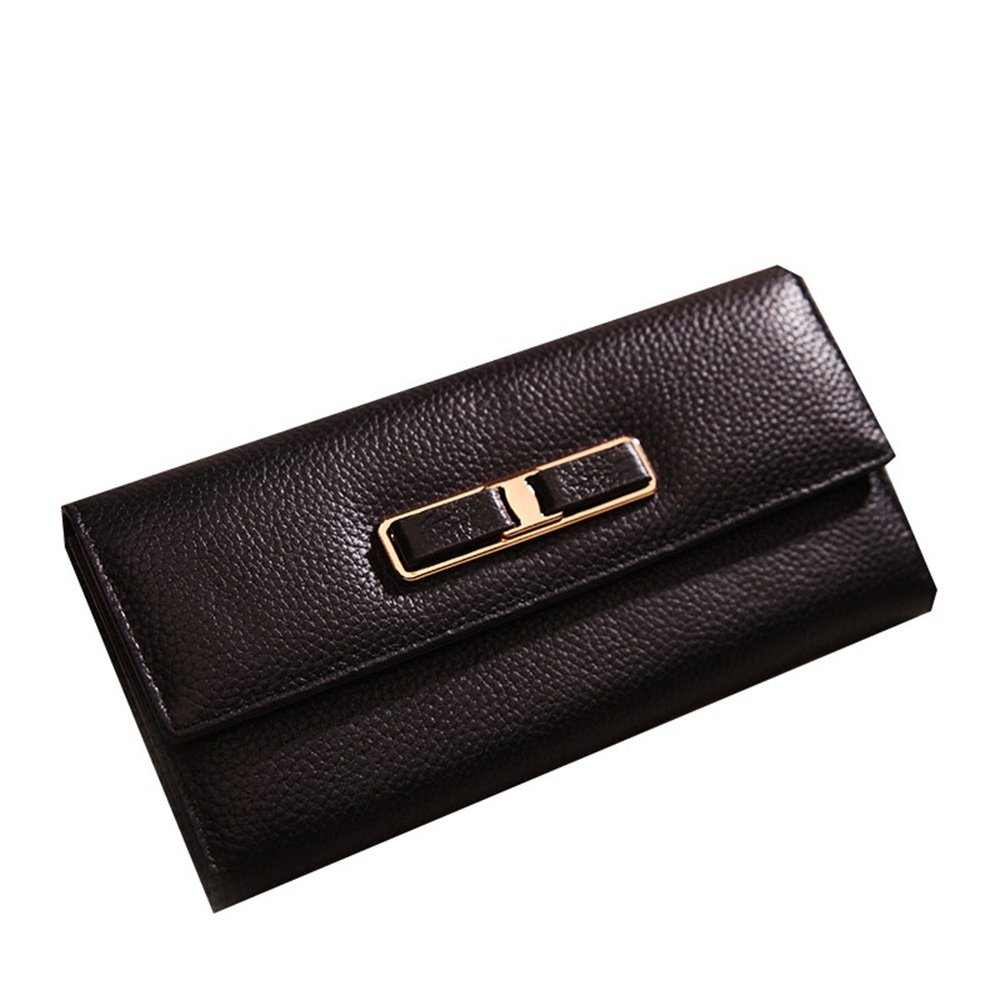 Sturdy Fashian Leather Metal Decoration Fair Maiden Personality Wallet Gifts to Send His Girlfriend A Hand Handbag Card Package May Put A Mobile Phone Large Capacity (color   Black)
