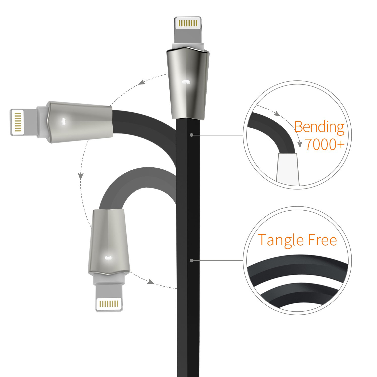 Best Overall: Aimus Lightning to USB Cable W/LED Light 3Pack