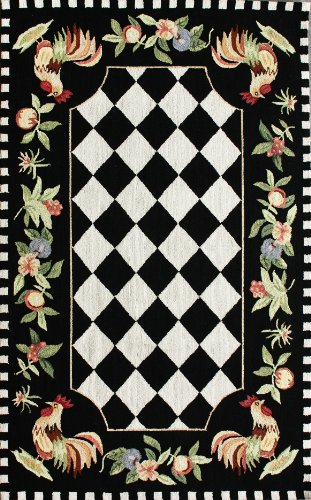 Rooster Black Area Rugs - 5