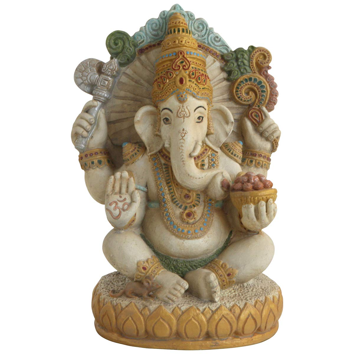Buddha Groove Artistic Ganesh Statue with Colorful Detailing on All Sides Made of Cast Stone for Indoor Placement Sturdy Construction Measures 12 inches Tall