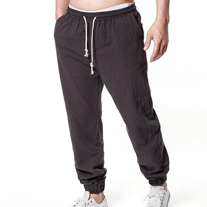 ef07f9454a Cinnamou Pantalones Elasticos CordóN Hombes De Lino Pierna Delgada  Bolsillos PantalóN Largos Hombre Trabajo  Amazon.es  Ropa y accesorios