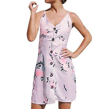 Vestido de Mujer, Cuello en V, con Correa de Botón Impresa, Vestido Delgado