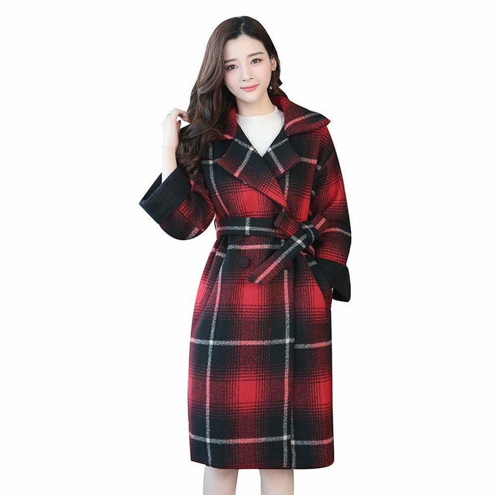 W coat Herbst und Winter Frauen 'Gitter Lose Jacke im Langen Absatz Mode Großen Doppelseitigen Kaschmir-Mantel