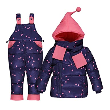 24a8ac034 Amazon.com  M A Baby Girls Snow Bib and Puffer Jacket Snowsuit 2 ...