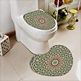 L-QN 2 Piece Toilet Toilet mat Collection Aged Old Arabic Design Arabian Cultural Engraving Art History Tourist Attraction Image Absorbent Cover