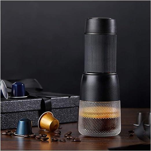 Cafeteras Máquina de café todo en uno portátil de café con cápsula portátil para viajes domésticos-black: Amazon.es: Hogar