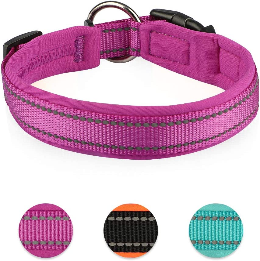 Waterproof Dog Collar Soft Padded with Buckle Adjustable Safety Nylon Puppy Collars Reflective Neoprene Padded Basic Dog Collars for Medium Breed Dogs