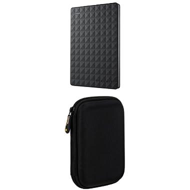 Seagate Expansion 1TB Portable External Hard Drive USB 3.0 (STEA1000400) & AmazonBasics External Hard Drive Case bundle