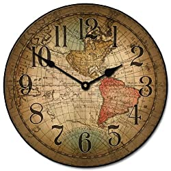 Vincenzo World Map Wall Clock, Available in 8 Sizes, Most Sizes Ship 2-3 Days,
