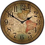 Vincenzo World Map Wall Clock, Available in 8 sizes, Most Sizes Ship 2 - 3 days, Whisper Quiet.