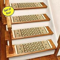 Ivory Rug Carpet Stair Treads Set Of 4 CST260I,White,26W x 8 3/4D