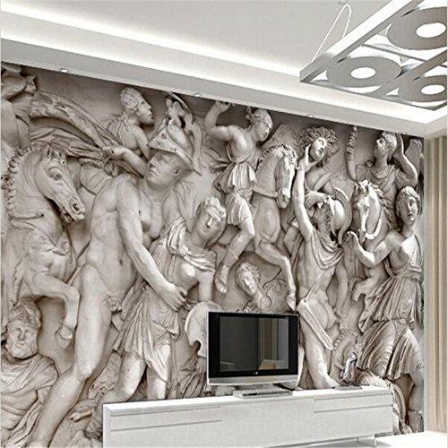 LHDLily 3D Wallpaper Mural Wall Sticker Thickening Custom Photo Roman Statues Art Restaurant Retro Sofa Backdrop 200cmX150cm