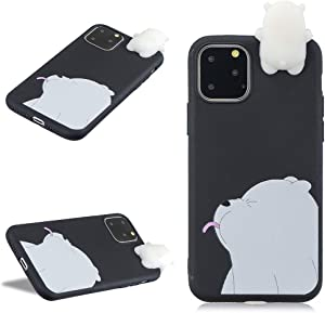 LCHDA for iPhone 11 Pro 3D Cartoon Case,iPhone 11 Pro Cute Squishy Panda Animal Print Pattern Kawaii Soft Silicone Protective Back Phone Cover Skin for Teen Girls Boys-Black