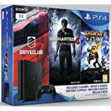 PlayStation 4 1TB D Chassis Slim Jet Black + Driveclub + Uncharted4 + Ratchet & Clank [Bundle]